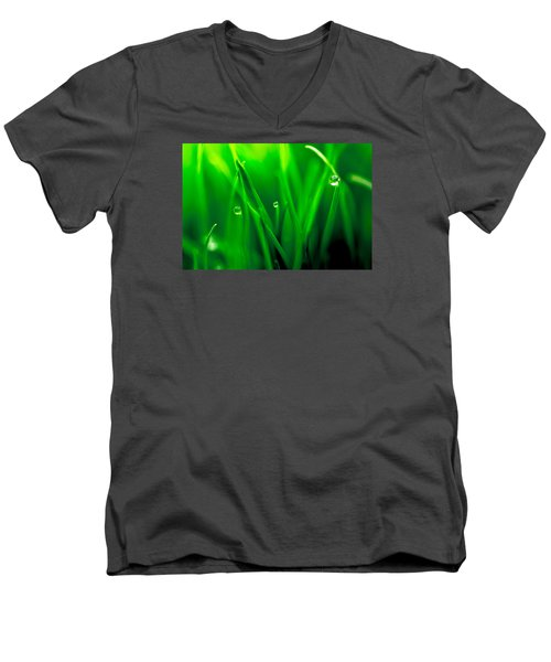 Macro Image Of Fresh Green Grass Men's V-Neck T-Shirt