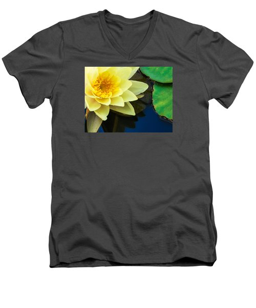 Macro Image Of Yellow Water Lilly Men's V-Neck T-Shirt by John Williams