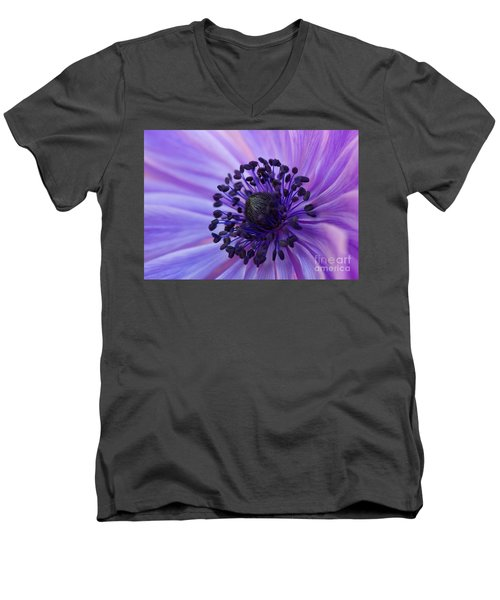 Macro Of Lavender Purple Anemone Men's V-Neck T-Shirt