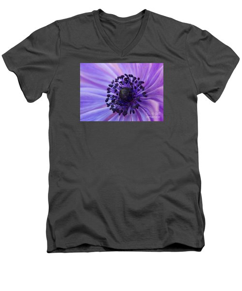 Macro Of Lavender Purple Anemone Men's V-Neck T-Shirt