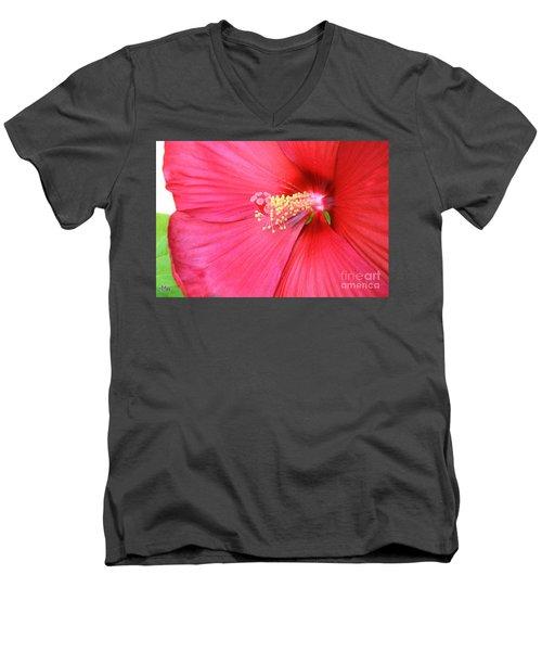 Macro Red Hibiscus Men's V-Neck T-Shirt by Marsha Heiken