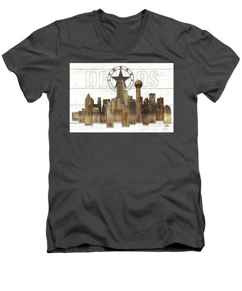 Made-to-order Dallas Texas Skyline Wall Art Men's V-Neck T-Shirt