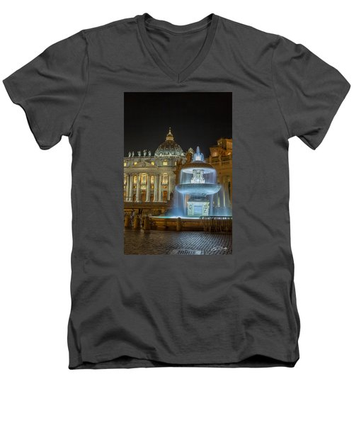 Maderno's Fountain Men's V-Neck T-Shirt by Ed Cilley