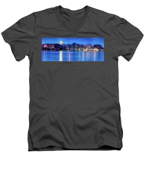 Madison Skyline Reflection Men's V-Neck T-Shirt