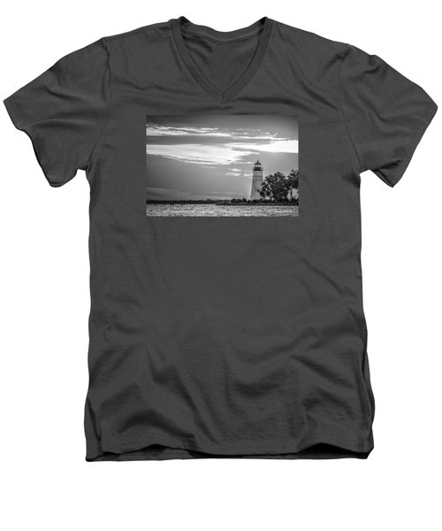 Men's V-Neck T-Shirt featuring the photograph Madisonville Lighthouse In Black-and-white by Andy Crawford