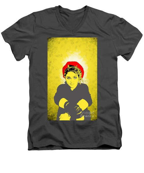 Men's V-Neck T-Shirt featuring the drawing Madonna On Yellow by Jason Tricktop Matthews