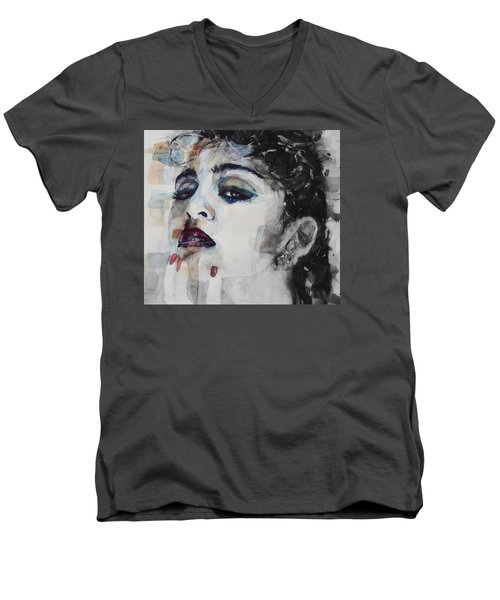 Men's V-Neck T-Shirt featuring the mixed media Madonna  Like A Prayer by Paul Lovering