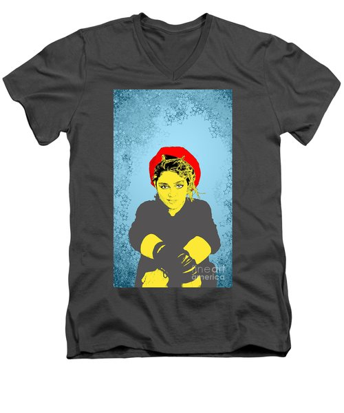 Men's V-Neck T-Shirt featuring the drawing Madonna On Blue by Jason Tricktop Matthews
