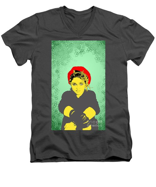 Men's V-Neck T-Shirt featuring the drawing Madonna On Green by Jason Tricktop Matthews