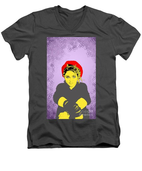 Men's V-Neck T-Shirt featuring the drawing Madonna On Purple by Jason Tricktop Matthews