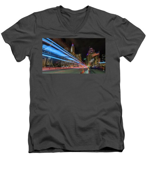 Men's V-Neck T-Shirt featuring the photograph Mag Mile Warp Speed by Sean Foster