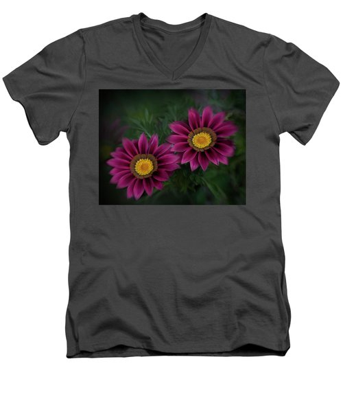 Men's V-Neck T-Shirt featuring the photograph Magenta African Daisies by David and Carol Kelly