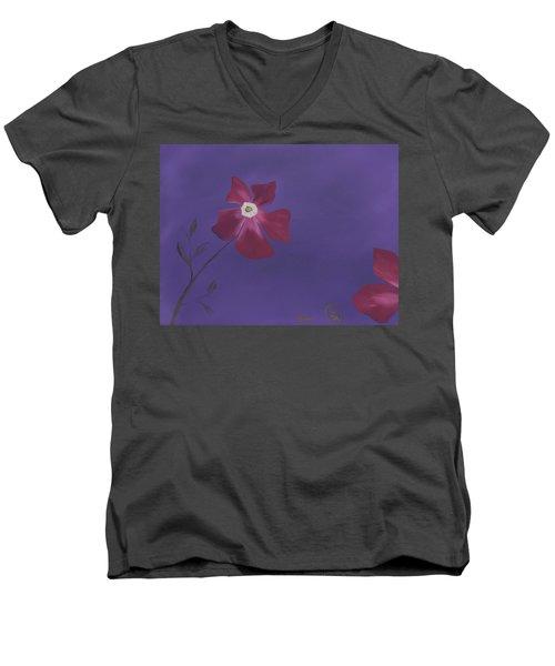 Magenta Flower On Plum Background Men's V-Neck T-Shirt