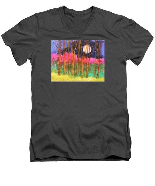 Men's V-Neck T-Shirt featuring the painting Magenta Treeline by John Williams