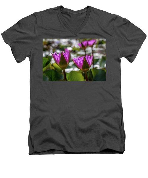 Magenta Water Lilies Men's V-Neck T-Shirt