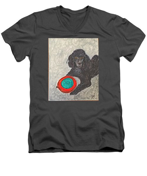 Maggie And Her Frisbee Men's V-Neck T-Shirt