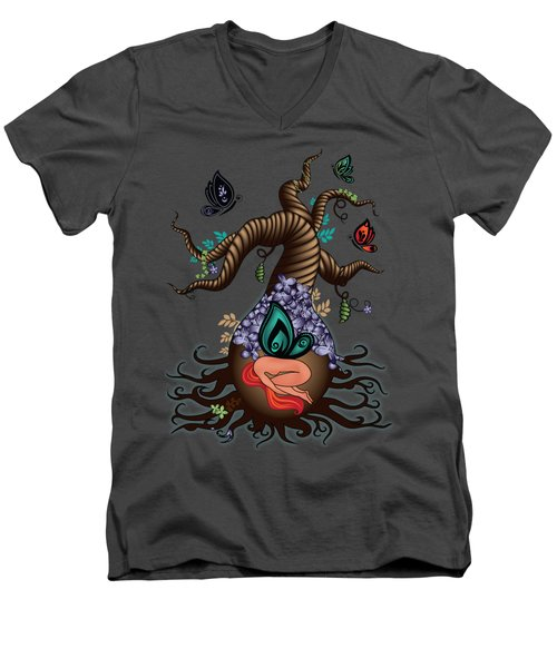 Magic Butterfly Tree Men's V-Neck T-Shirt by Serena King