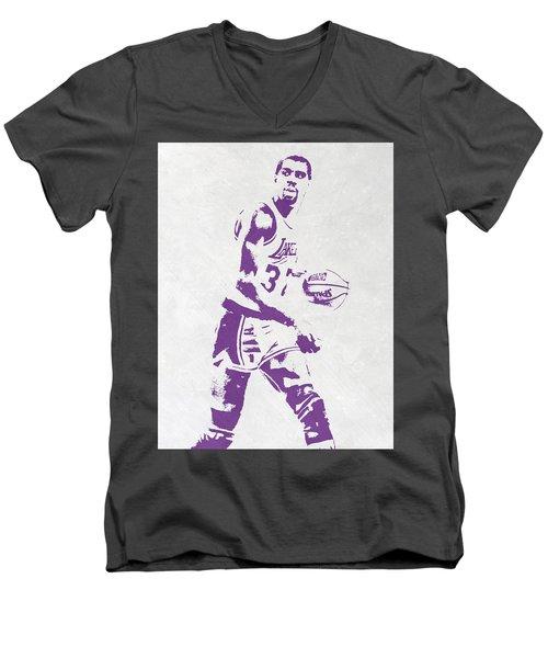 Magic Johnson Los Angeles Lakers Pixel Art Men's V-Neck T-Shirt by Joe Hamilton