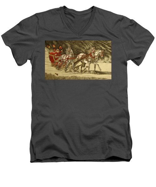 Men's V-Neck T-Shirt featuring the drawing Magical Christmas by Melita Safran