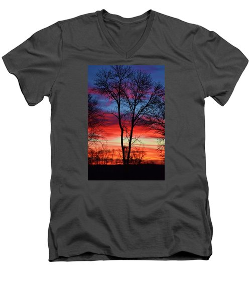 Men's V-Neck T-Shirt featuring the photograph Magical Colors In The Sky by Dacia Doroff