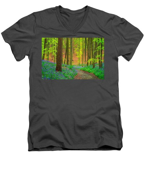 Men's V-Neck T-Shirt featuring the photograph Magical Forest by Maciej Markiewicz