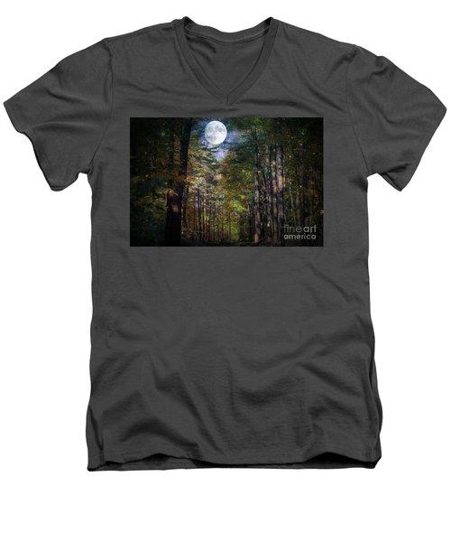 Magical Moonlit Forest Men's V-Neck T-Shirt by Judy Palkimas