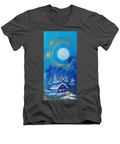Magical Night At The Cabin Men's V-Neck T-Shirt