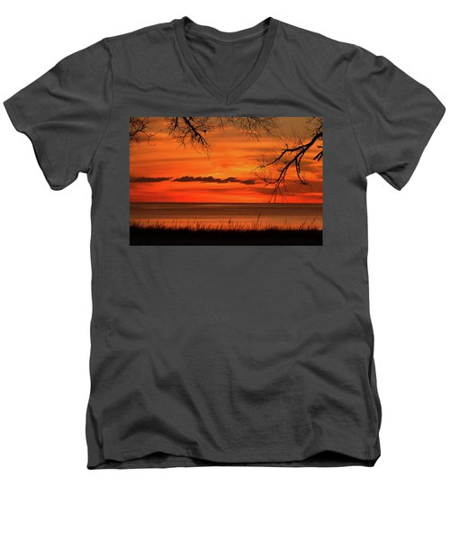 Magical Orange Sunset Sky Men's V-Neck T-Shirt