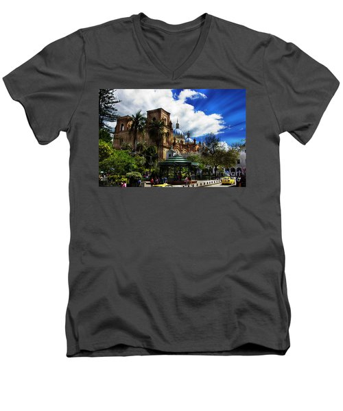 Magnificent Center Of Cuenca, Ecuador IIi Men's V-Neck T-Shirt by Al Bourassa