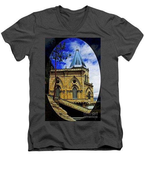 Men's V-Neck T-Shirt featuring the photograph Magnificent Church Of Biblian by Al Bourassa