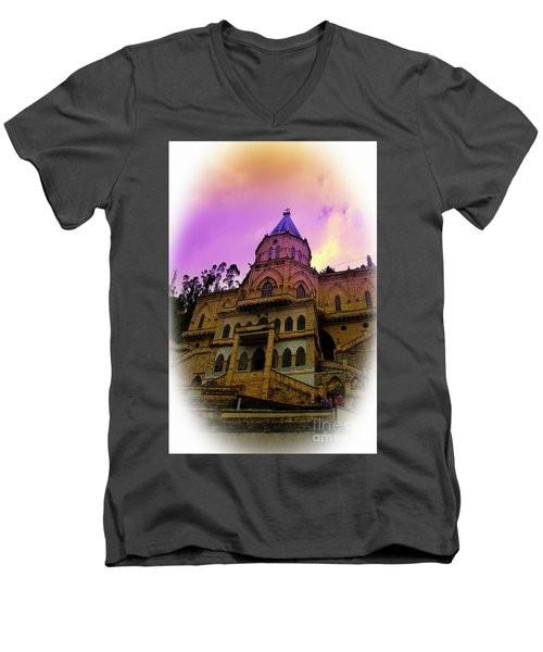 Men's V-Neck T-Shirt featuring the photograph Magnificent Church Of Biblian II by Al Bourassa
