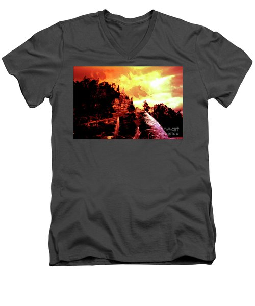 Men's V-Neck T-Shirt featuring the photograph Magnificent Church Of Biblian IIi by Al Bourassa