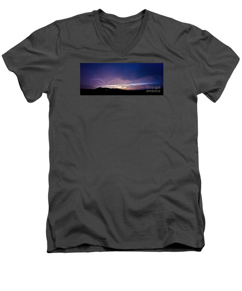 Magnificent Sunset Lightning Men's V-Neck T-Shirt