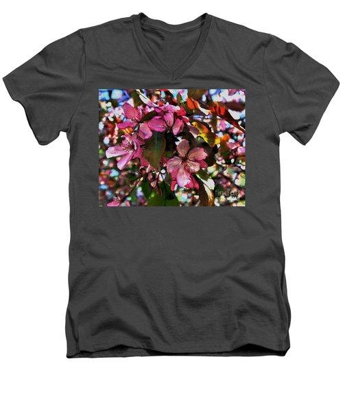 Magnolia Abstract Men's V-Neck T-Shirt by Marsha Heiken