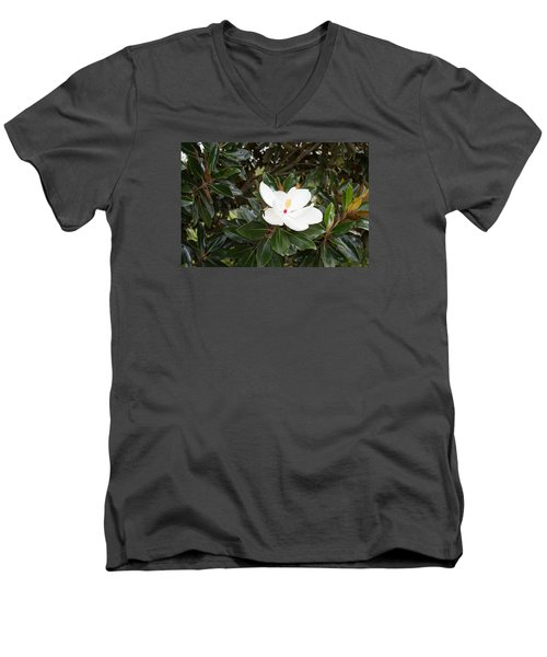 Men's V-Neck T-Shirt featuring the photograph Magnolia Blossom by Linda Geiger