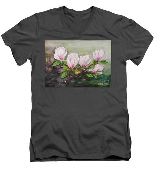 Magnolia Blossom - Painting Men's V-Neck T-Shirt