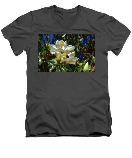 Magnolia Blossoms Men's V-Neck T-Shirt by Kathy Baccari