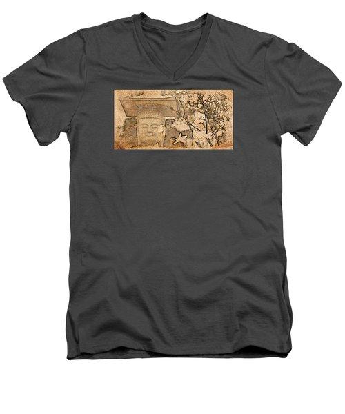 Magnolia Buddha Men's V-Neck T-Shirt