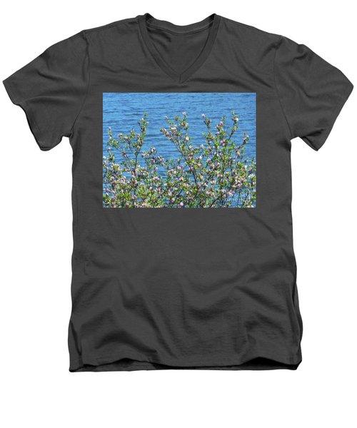 Magnolia Flowering Tree Blue Water Men's V-Neck T-Shirt