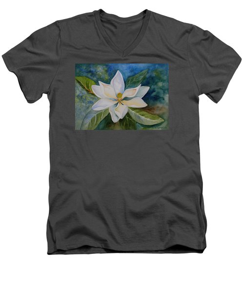 Magnolia Men's V-Neck T-Shirt by Kerri Ligatich