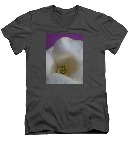 Magnolia Macro Against Purple Men's V-Neck T-Shirt