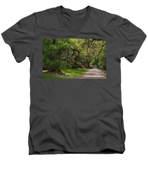 Magnolia Plantation And Gardens Men's V-Neck T-Shirt by Kathy Baccari