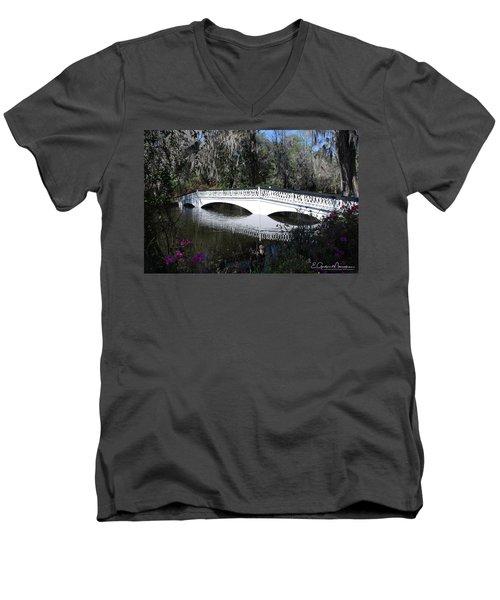 Magnolia Plantation Bridge Men's V-Neck T-Shirt by Gordon Mooneyhan