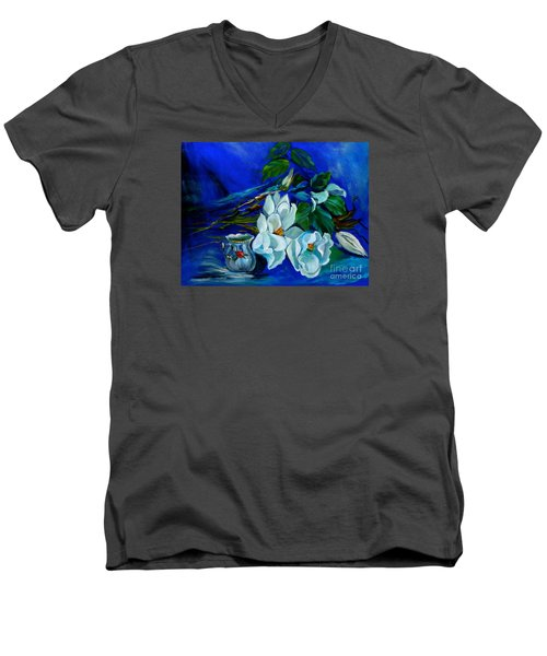 Magnolias And Cream Men's V-Neck T-Shirt by Jenny Lee