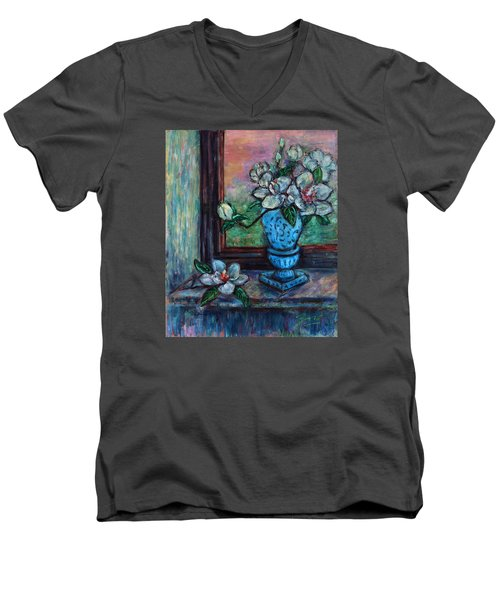 Men's V-Neck T-Shirt featuring the painting Magnolias In A Blue Vase By The Window by Xueling Zou