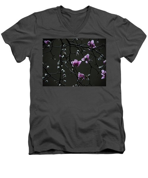 Men's V-Neck T-Shirt featuring the photograph Magnolias In Rain by Rob Amend