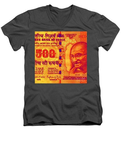 Men's V-Neck T-Shirt featuring the digital art Mahatma Gandhi 500 Rupees Banknote by Jean luc Comperat