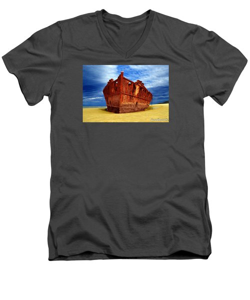 Men's V-Neck T-Shirt featuring the photograph Maheno Shipwreck Fraser Island Queensland Australia by Gary Crockett