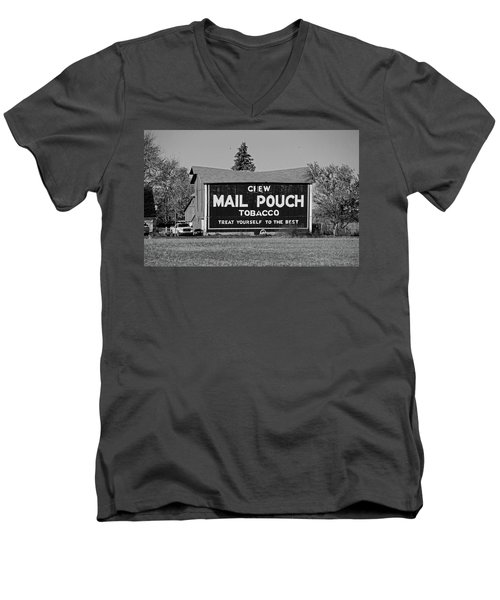Mail Pouch Tobacco In Black And White Men's V-Neck T-Shirt by Michiale Schneider