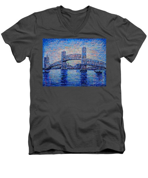 Men's V-Neck T-Shirt featuring the painting Main St.bridge,#2 by Viktor Lazarev